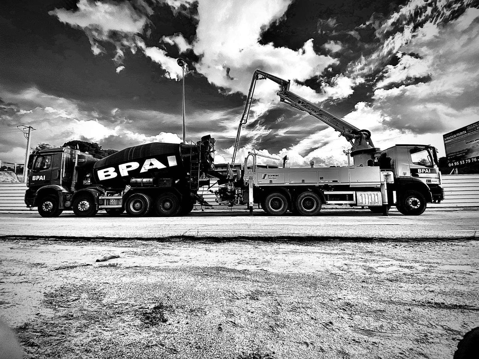 BPAI livraison béton camion toupie et pompe