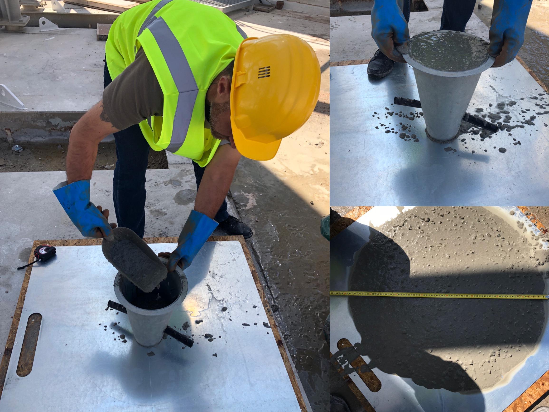 test d'étalement d'un béton auto-plaçant au départ de la centrale.